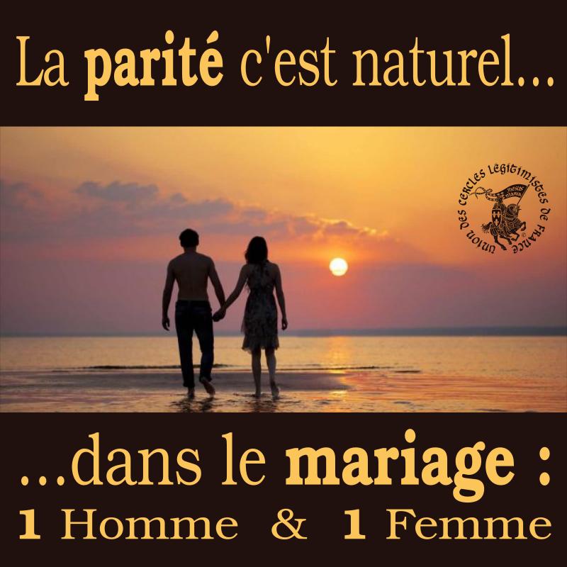 Parité dans le mariage : 1 homme & 1 femme